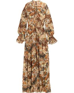 Metallic Fil Coupé Silk-chiffon Maxi Dress