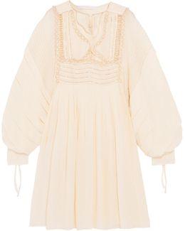 Metallic Embroidered Ruffled Silk-seersucker Dress