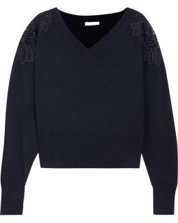 Merine Guipure Lace-trimmed Wool And Cashmere-blend Sweater