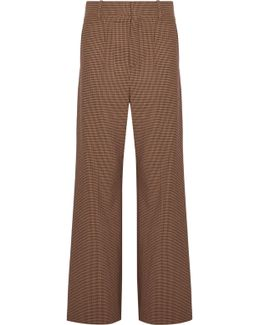 Checked Stretch-cady Wide-leg Pants