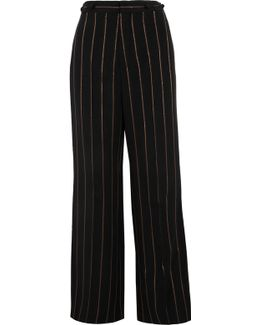 Metallic Striped Crepe Wide-leg Pants
