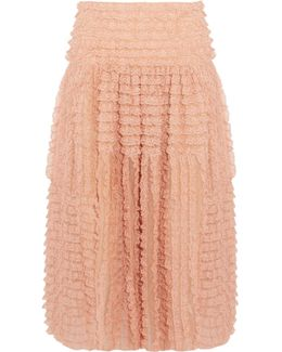 Ruffled Lace-trimmed Silk-organza Midi Skirt