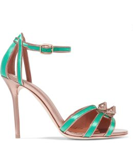 Eunice Metallic Leather-trimmed Satin Sandals