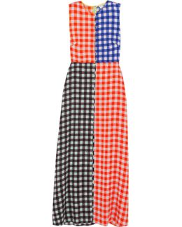 Gingham Stretch-silk Maxi Dress