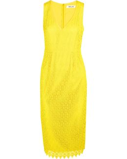 Crocheted Lace Midi Dress
