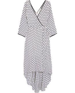 Asymmetric Polka-dot Silk Midi Dress