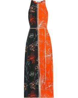 Open-back Printed Silk Crepe De Chine Midi Dress