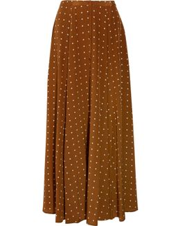 Polka-dot Washed-silk Maxi Skirt