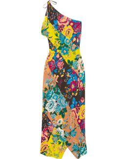 One-shoulder Printed Silk Crepe De Chine Maxi Dress