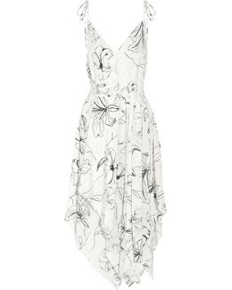 Asymmetric Printed Silk Crepe De Chine Midi Dress