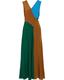 Cutout Polka-dot Silk Crepe De Chine Maxi Dress