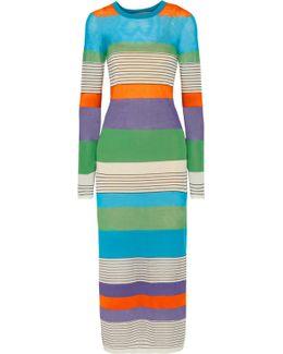 Striped Stretch Cotton-blend Midi Dress