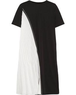 Two-tone Stretch-jersey And Plissé Satin Dress