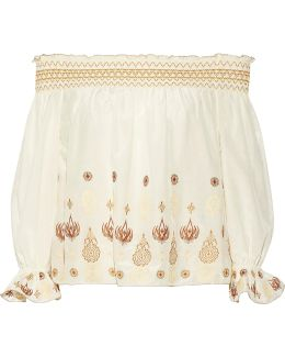 Veronica Off-the-shoulder Embroidered Cotton And Silk-blend Voile Top