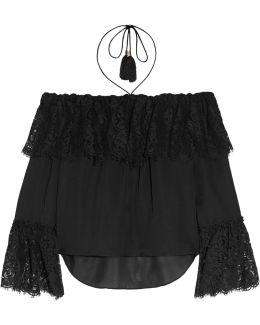 Cali Off-the-shoulder Lace And Silk-chiffon Top