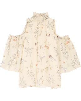 Callahan Cold-shoulder Floral-print Silk-chiffon Blouse