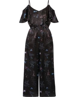 Houghton Ruffled Floral-printed Silk-satin Wide-leg Jumpsuit