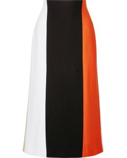 Color-block Stretch-knit Midi Skirt