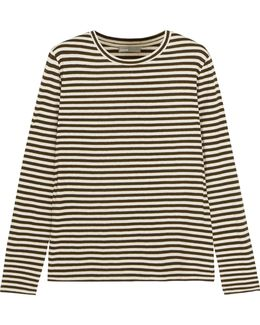 Striped Silk-blend Jersey Top
