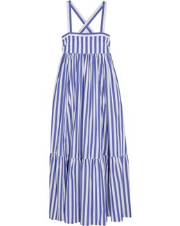 + Thomas Mason Honduras Striped Cotton-poplin Maxi Dress