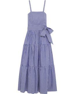 Garratt Tiered Striped Cotton-poplin Maxi Dress