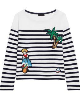 Coco Cabana Appliquéd Striped Cotton-jersey Top