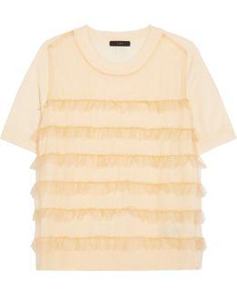 Waverly Ruffled Tulle-paneled Merino Wool T-shirt