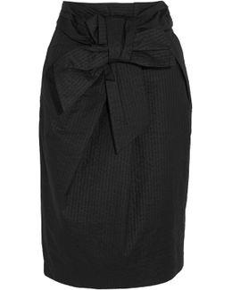 Tie-front Cotton-seersucker Skirt