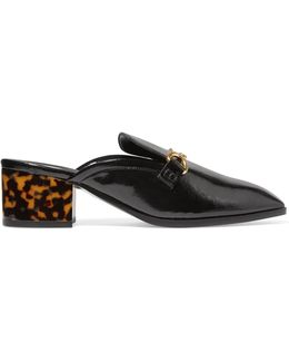 Embellished Faux Glossed-leather Slippers