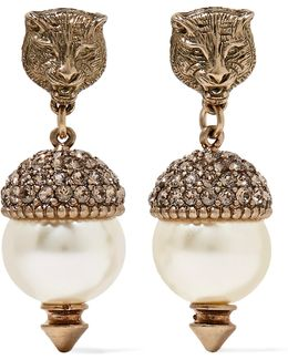 Gold-tone, Faux Pearl And Crystal Earrings