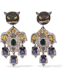 Gold-tone, Crystal And Silk Clip Earrings
