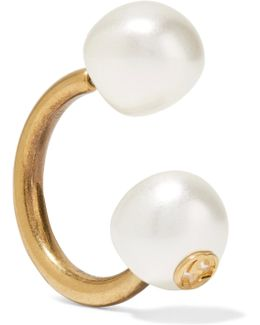 Gold-plated Faux Pearl Earring