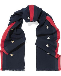 Striped Embroidered Wool, Cashmere And Silk-blend Scarf