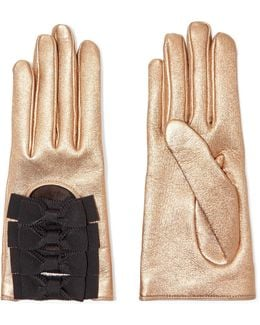 Bow-embellished Metallic Textured-leather Gloves