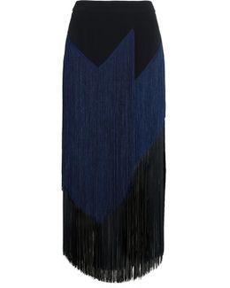 Veronica Fringed Stretch-crepe Midi Skirt