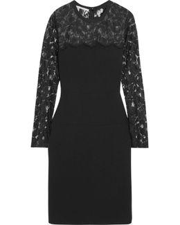 Sally Lace-paneled Stretch-crepe Mini Dress