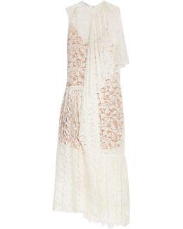 Elen One-shoulder Draped Cotton-blend Lace Gown