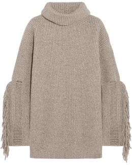 Fringed Ribbed Cashmere And Wool-blend Turtleneck Sweater