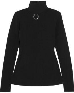 Embellished Stretch-knit Turtleneck Sweater