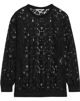 Ines Metallic-trimmed Lace Sweater