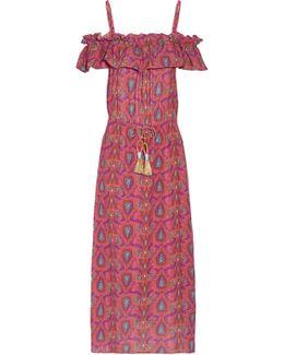 Maya Cold-shoulder Printed Cotton-blend Gauze Dress