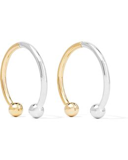 Curved Barbell Hoop Gold And Rhodium-plated Earrings
