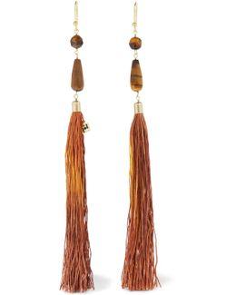 Rum Tasseled Beaded Gold-tone Earrings