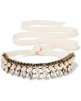 Born Again Gold-plated, Swarovski Crystal And Faux Pearl Choker