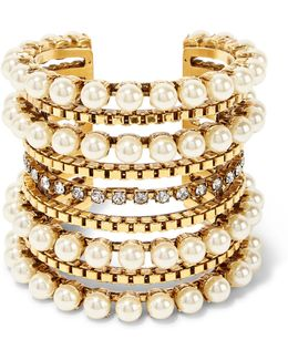 Awaken Gold-plated, Faux Pearl And Swarovski Crystal Cuff