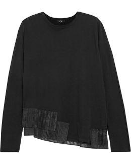 Pleated Organza-trimmed Cotton-jersey Sweatshirt