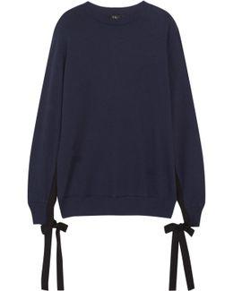 Grosgrain Bow-embellished Cotton-jersey Sweatshirt