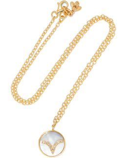 Aries Lucky 18-karat Gold, Diamond And Mother-of-pearl Necklace