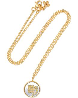 Virgo Lucky 18-karat Rose Gold, Diamond And Mother-of-pearl Necklace
