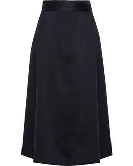Satin-crepe Wrap Midi Skirt